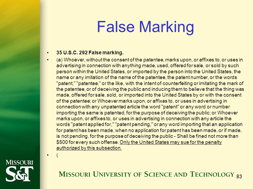 False Marking 35 U.S.C. 292 False marking.