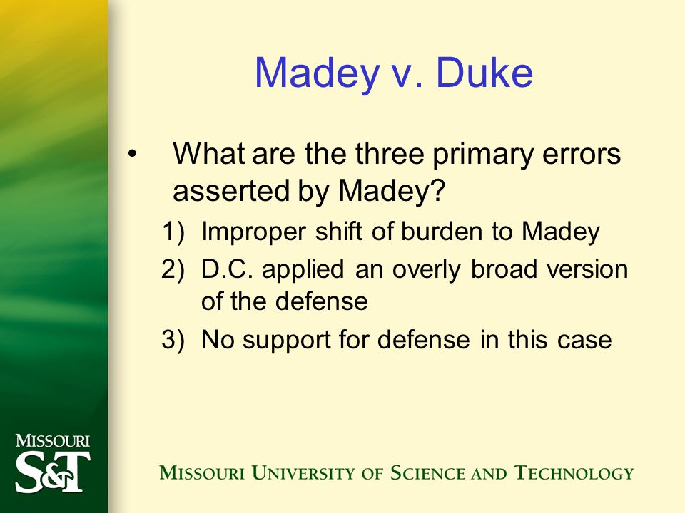 Madey v. Duke What are the three primary errors asserted by Madey