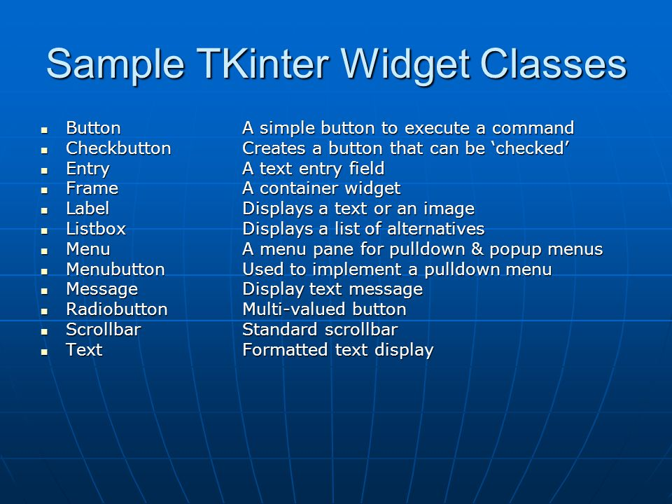 Sample TKinter Widget Classes