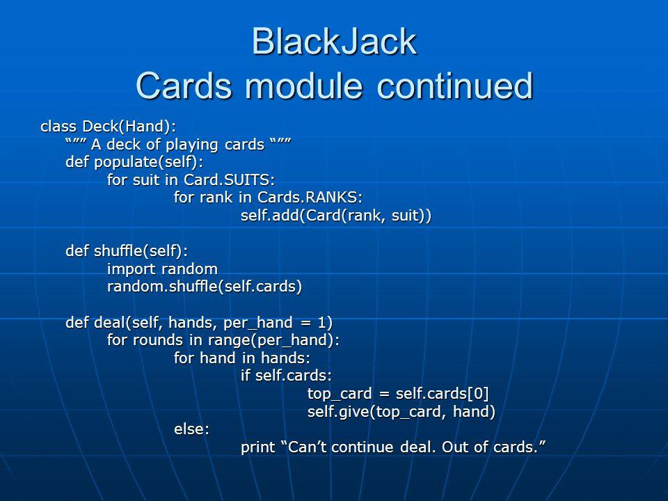 BlackJack Cards module continued