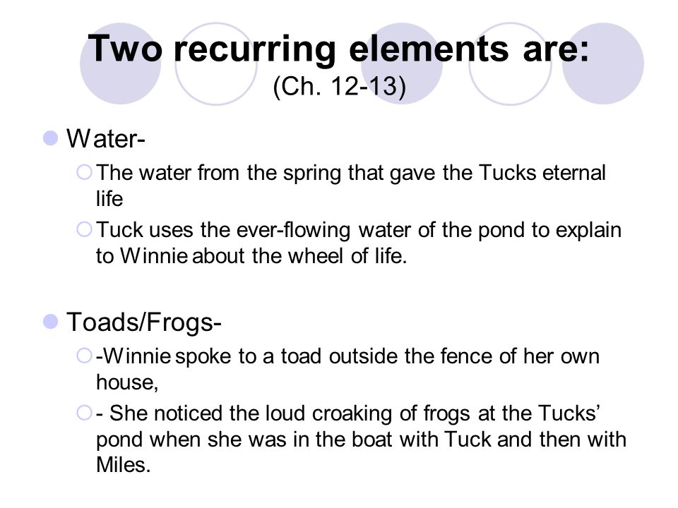 Two recurring elements are: (Ch. 12-13)