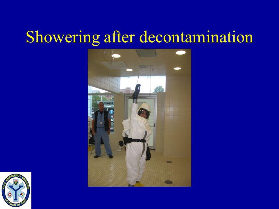 Showering after decontamination