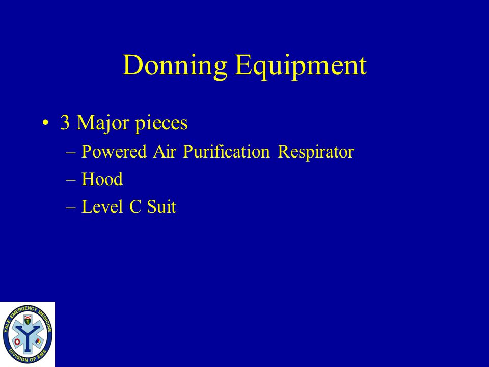 Donning Equipment 3 Major pieces Powered Air Purification Respirator