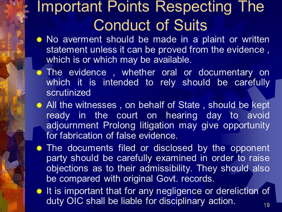 Important Points Respecting The Conduct of Suits