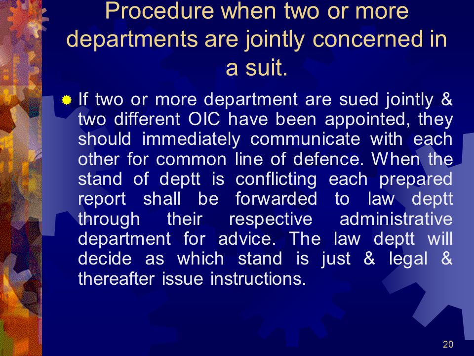 Procedure when two or more departments are jointly concerned in a suit.