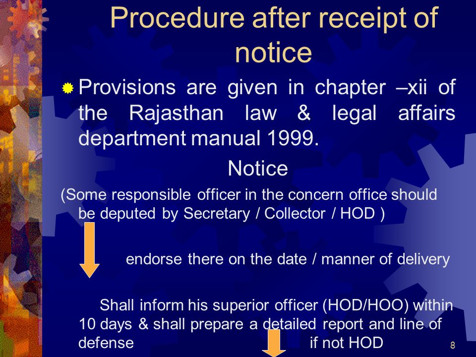 Procedure after receipt of notice