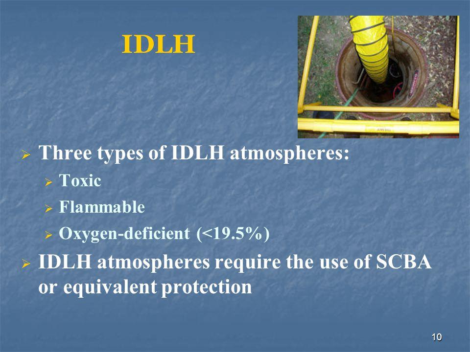 IDLH Three types of IDLH atmospheres: