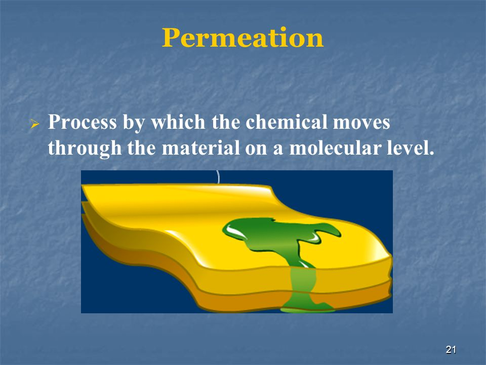 Permeation Process by which the chemical moves through the material on a molecular level. Occurs through the material itself rather than through.