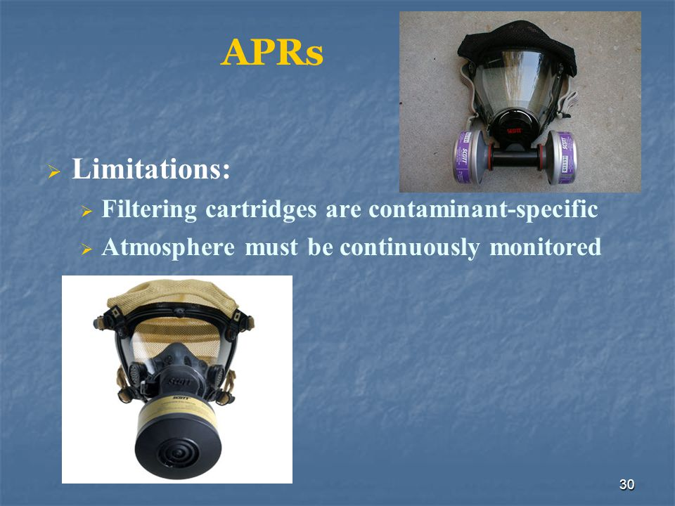 APRs Limitations: Filtering cartridges are contaminant-specific