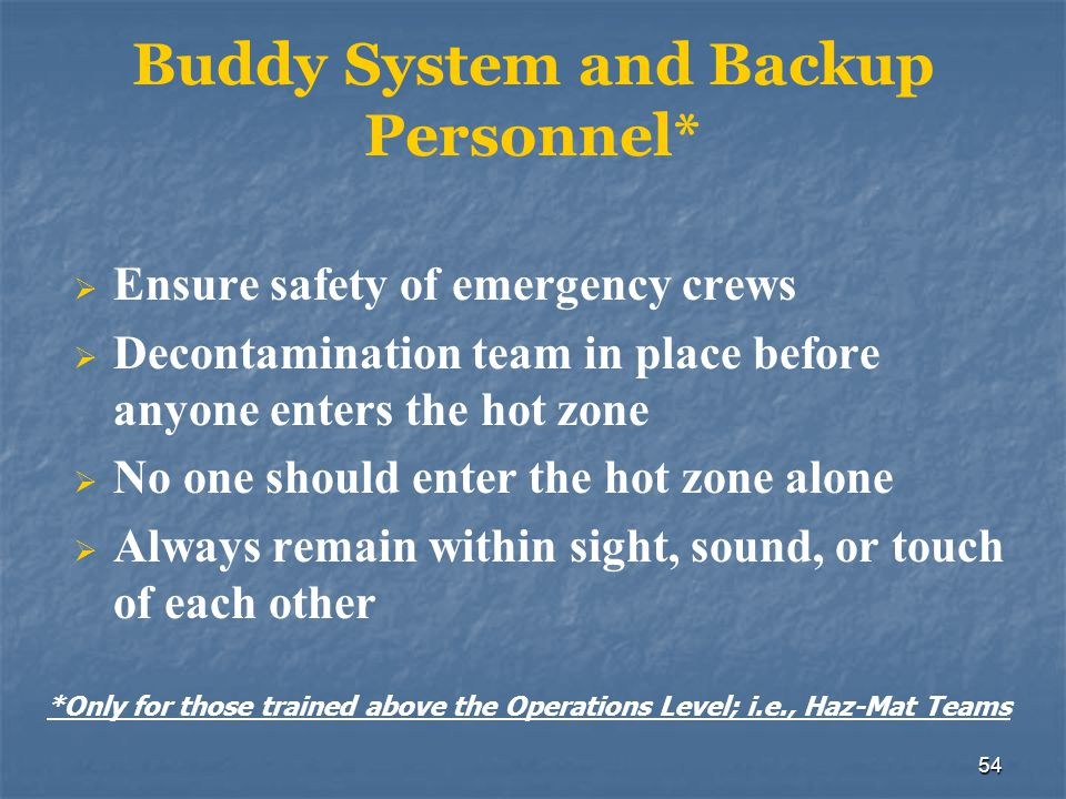 Buddy System and Backup Personnel*