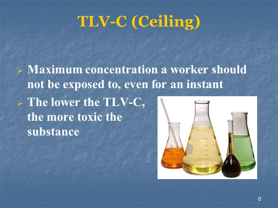 TLV-C (Ceiling) Maximum concentration a worker should not be exposed to, even for an instant.