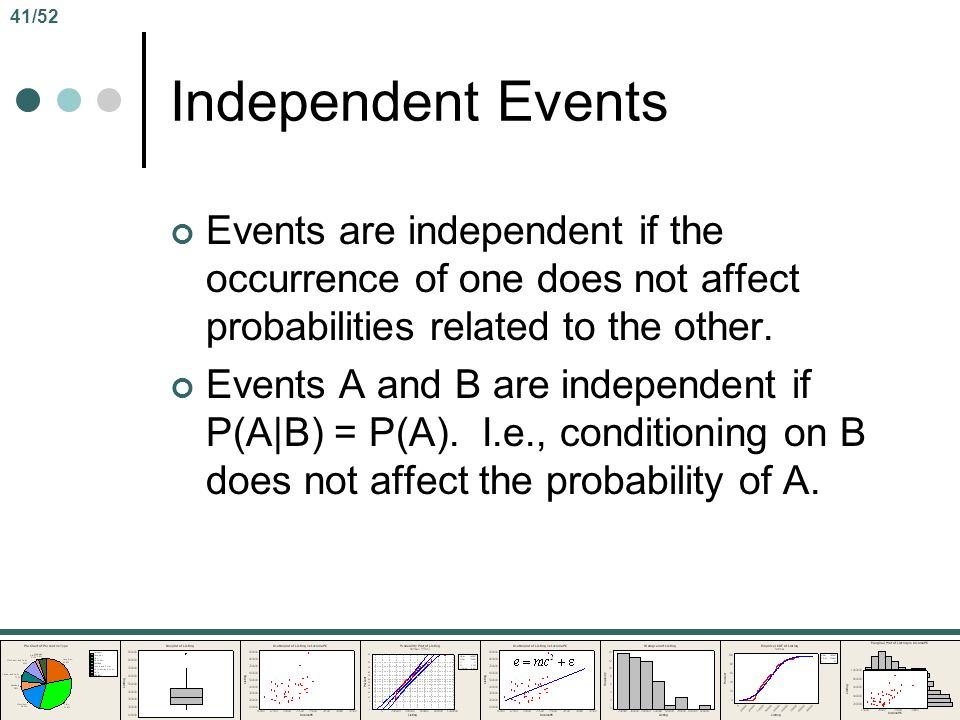 41/52 Independent Events. Events are independent if the occurrence of one does not affect probabilities related to the other.