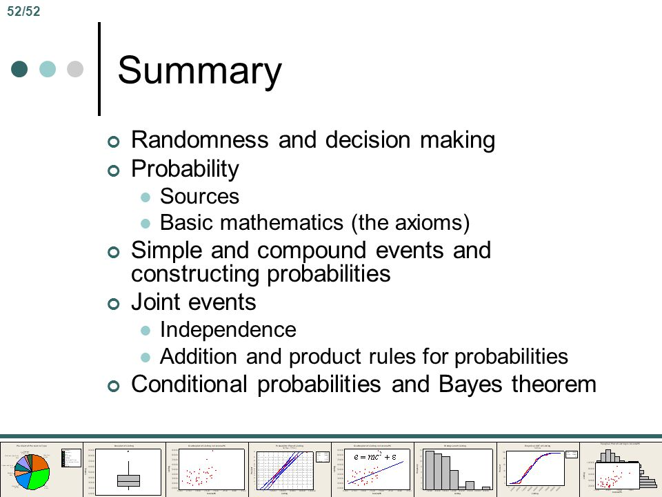 Summary Randomness and decision making Probability