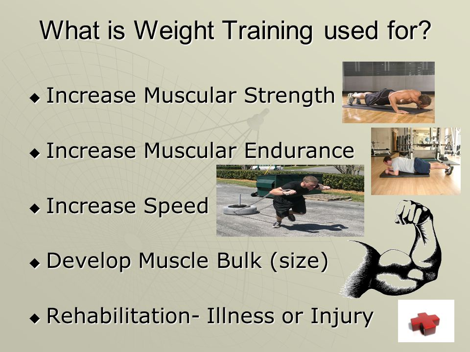 What is Weight Training used for