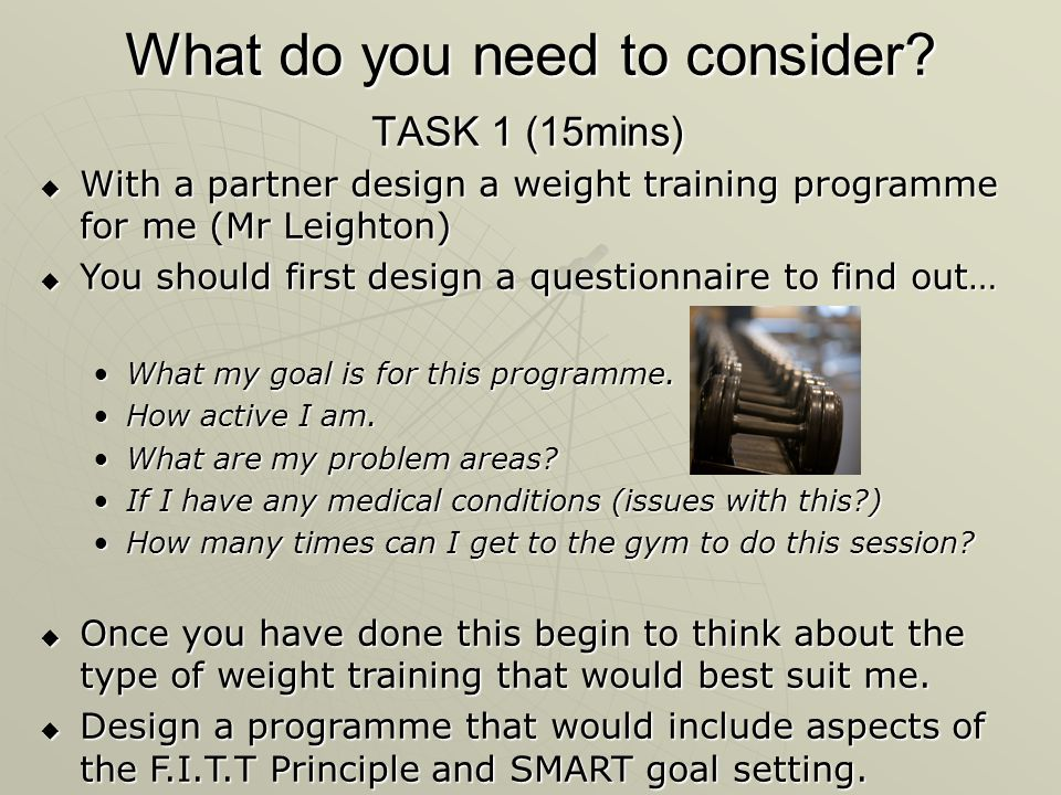 What do you need to consider TASK 1 (15mins)