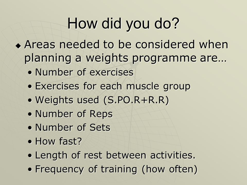 How did you do Areas needed to be considered when planning a weights programme are… Number of exercises.