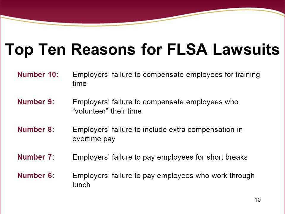 Top Ten Reasons for FLSA Lawsuits