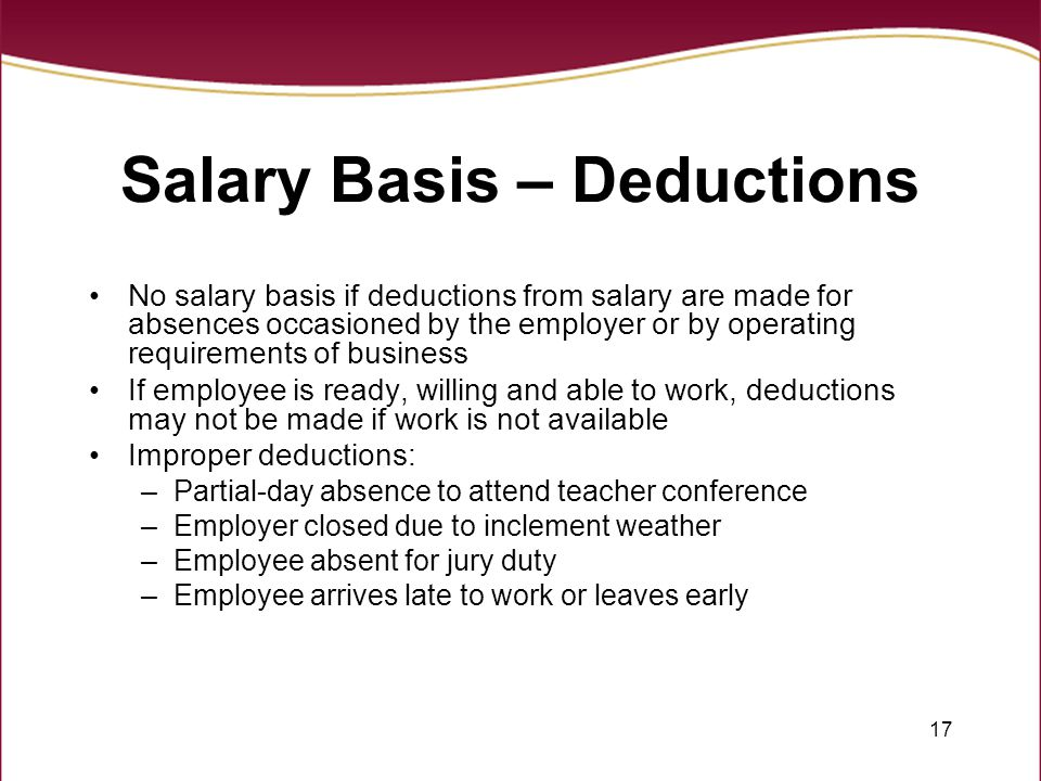 Salary Basis – Deductions