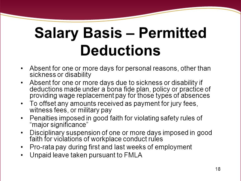 Salary Basis – Permitted Deductions