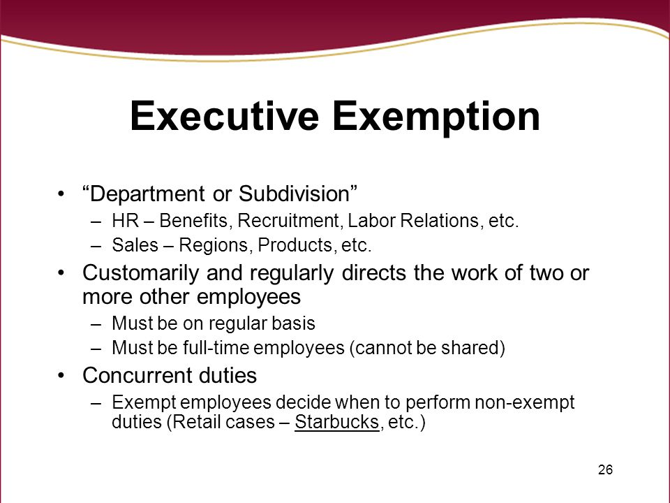Executive Exemption Department or Subdivision