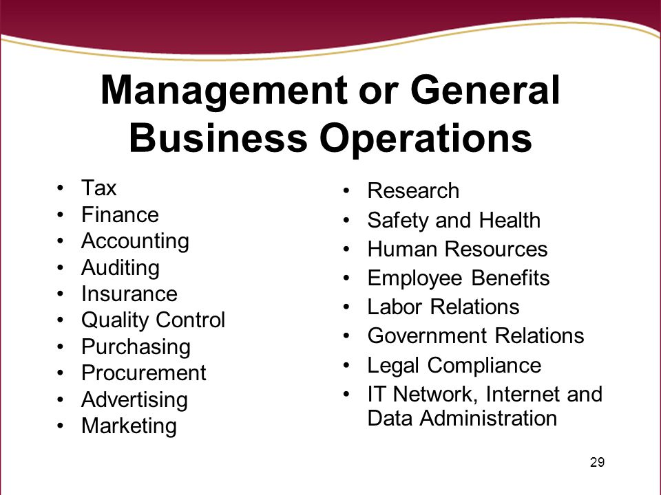 Management or General Business Operations