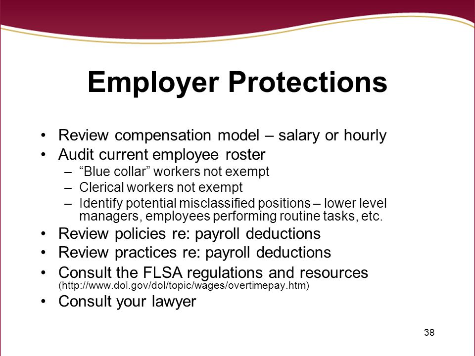 Employer Protections Review compensation model – salary or hourly
