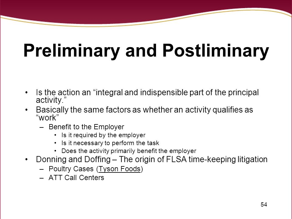 Preliminary and Postliminary