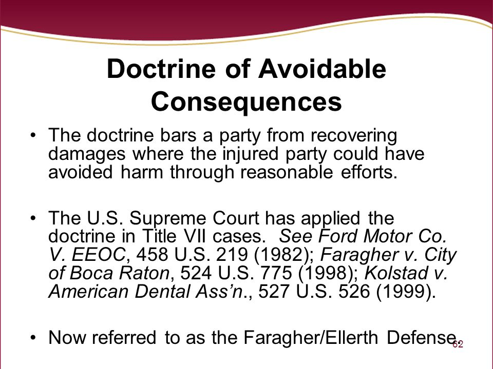 Doctrine of Avoidable Consequences