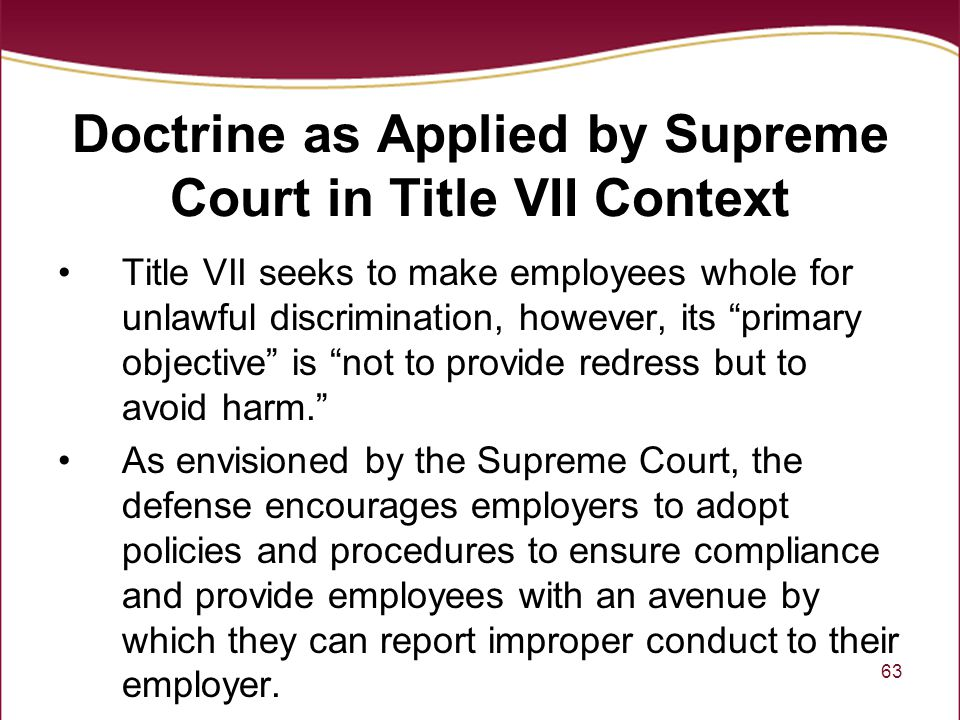 Doctrine as Applied by Supreme Court in Title VII Context