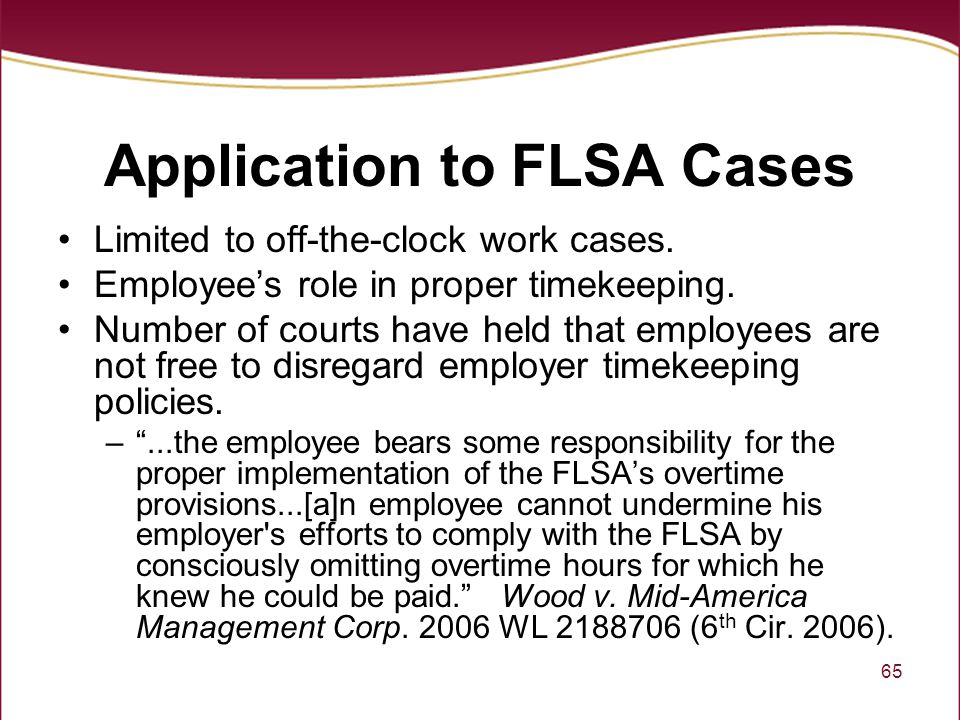 Application to FLSA Cases