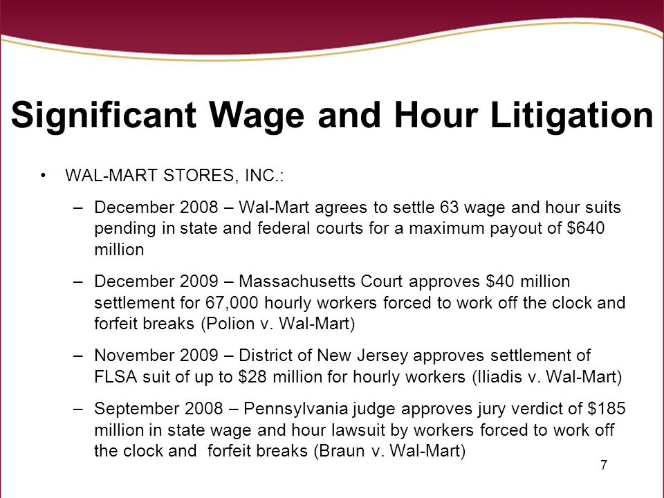 Significant Wage and Hour Litigation