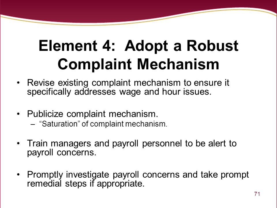 Element 4: Adopt a Robust Complaint Mechanism