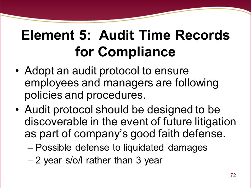 Element 5: Audit Time Records for Compliance