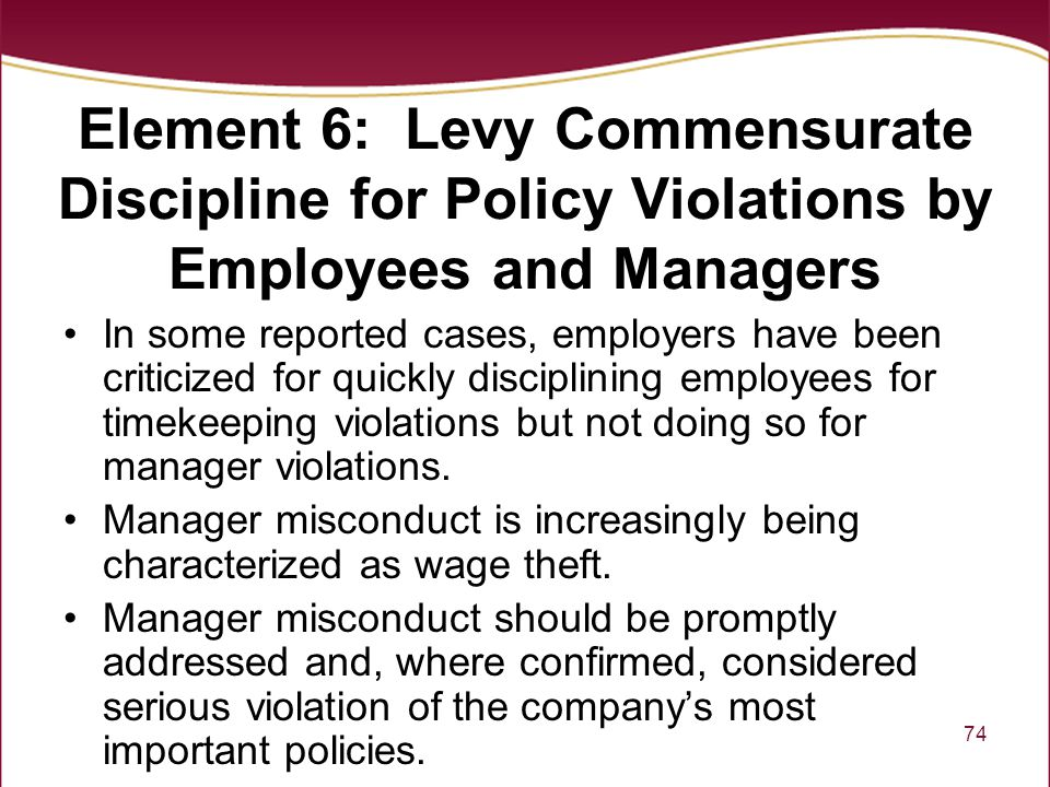 Element 6: Levy Commensurate Discipline for Policy Violations by Employees and Managers