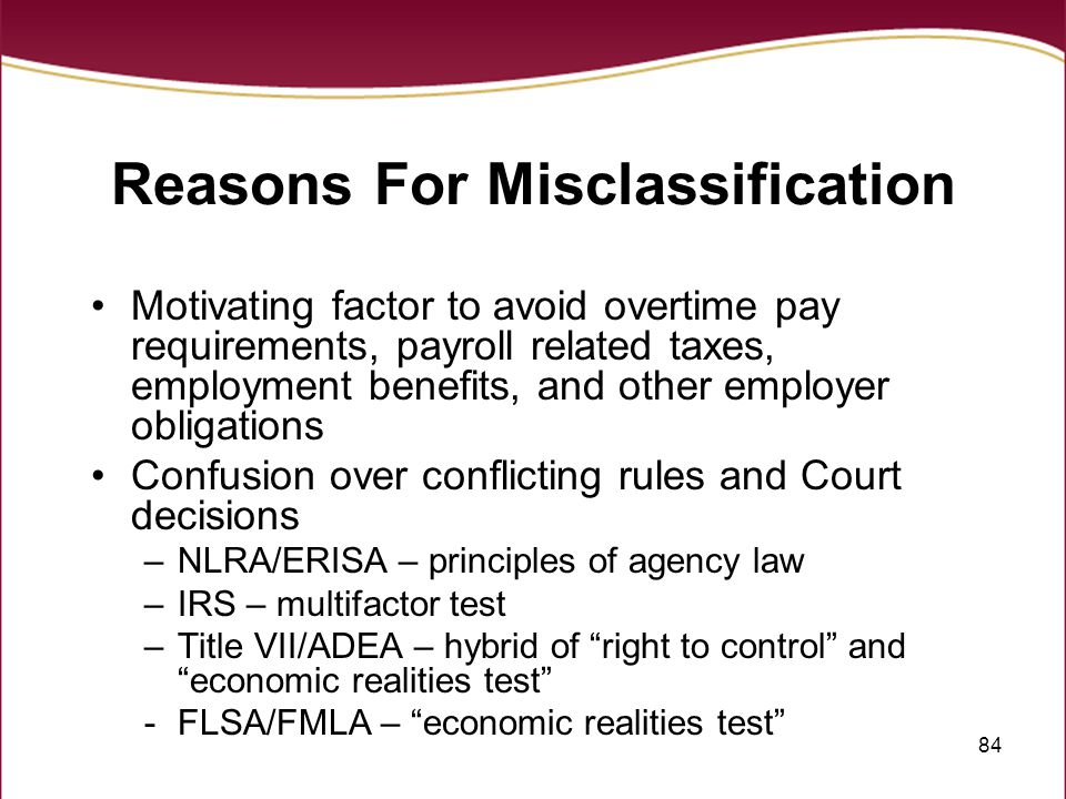 Reasons For Misclassification