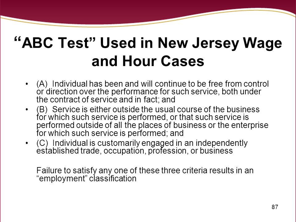 ABC Test Used in New Jersey Wage and Hour Cases