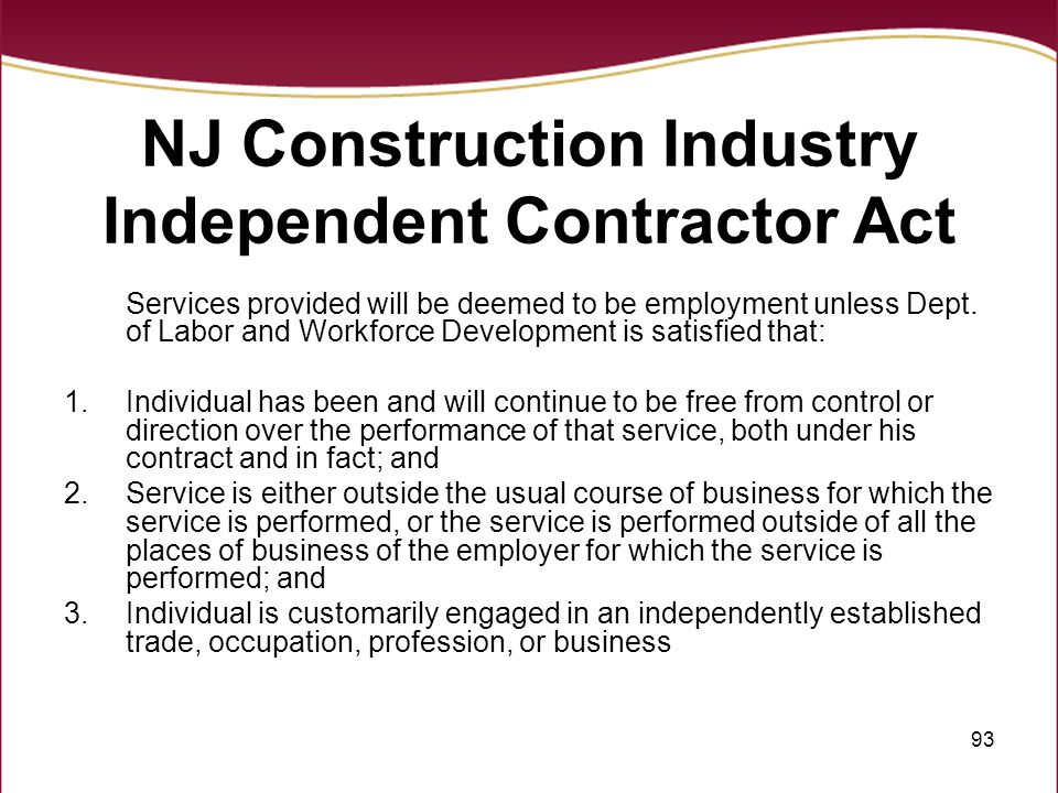 NJ Construction Industry Independent Contractor Act