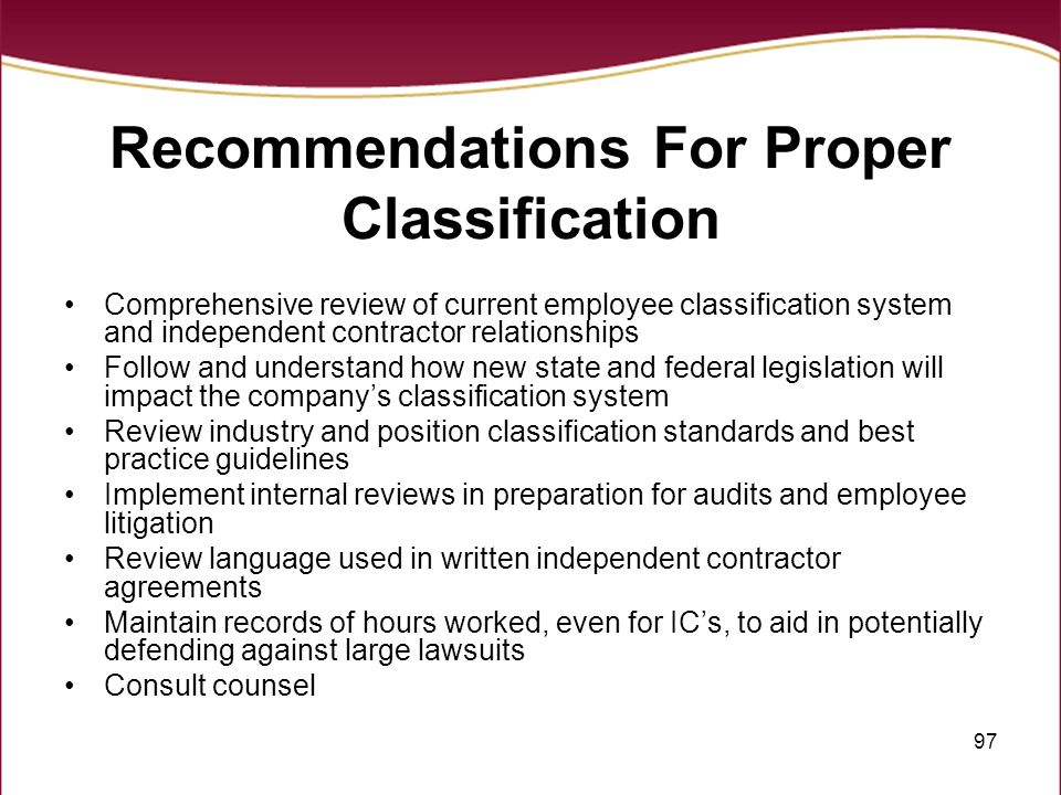 Recommendations For Proper Classification