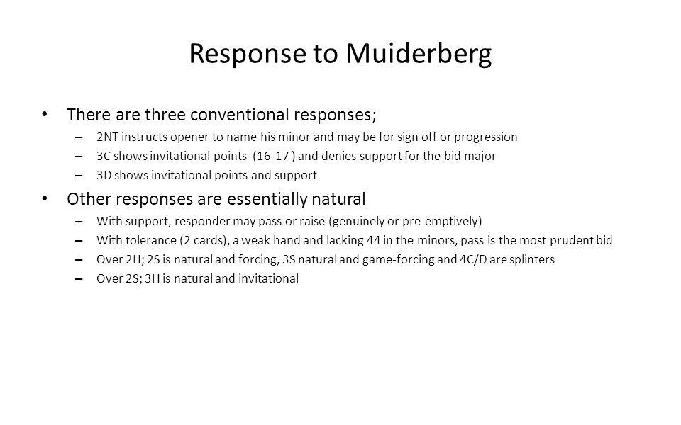 Response to Muiderberg