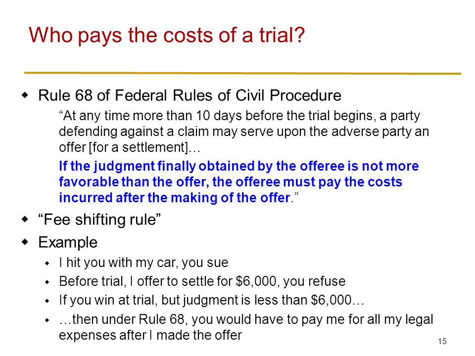 Who pays the costs of a trial