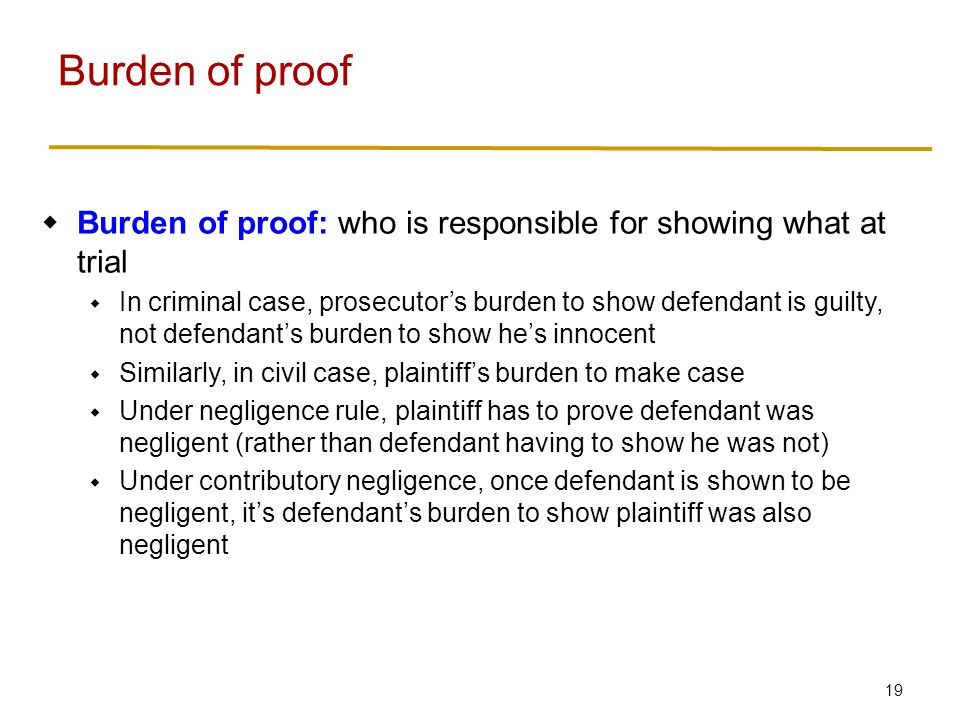 Standard of proof Standard of proof: degree of certainty to which something must be shown in court.