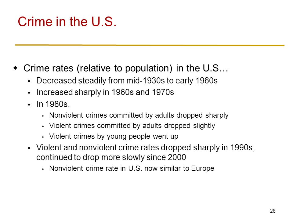 Crime in the U.S. Criminals in the U.S… Disproportionally young males
