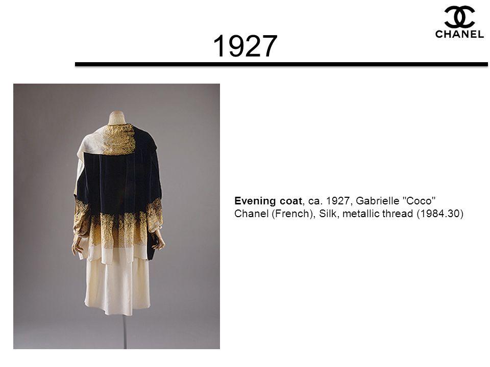 1927 Evening coat, ca. 1927, Gabrielle Coco Chanel (French), Silk, metallic thread (1984.30)