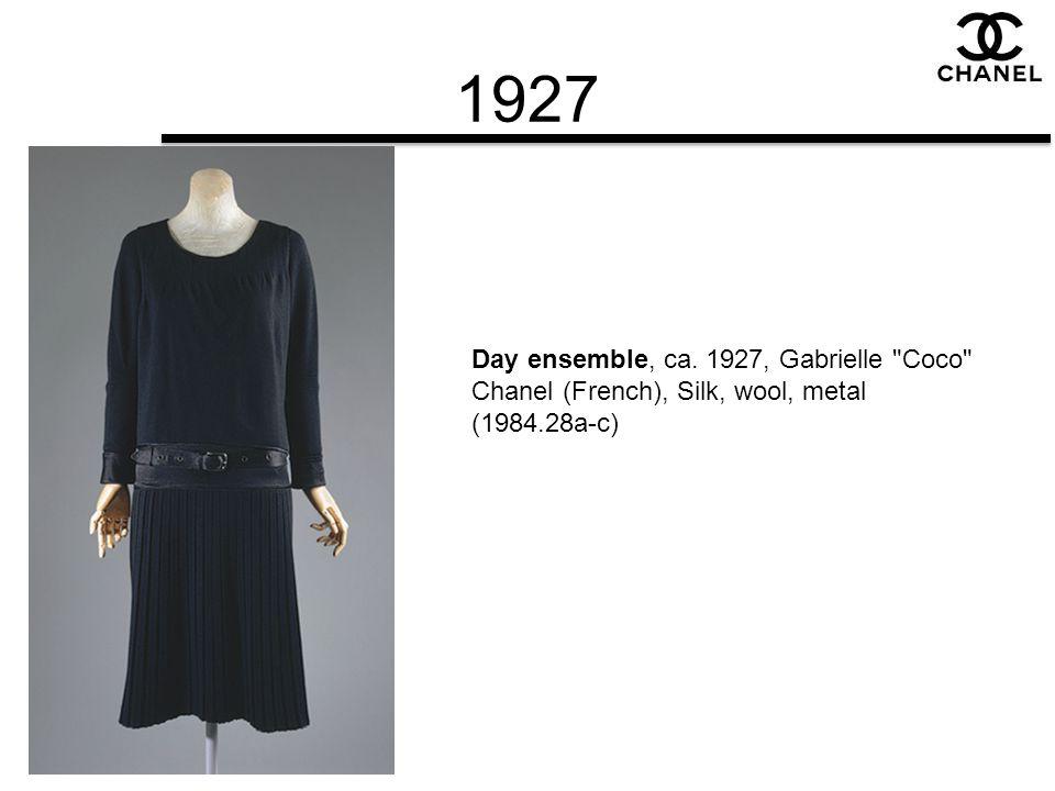 1927 Day ensemble, ca. 1927, Gabrielle Coco Chanel (French), Silk, wool, metal (1984.28a-c)