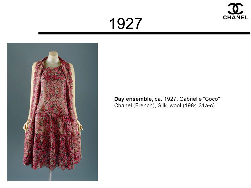 1927 Day ensemble, ca. 1927, Gabrielle Coco Chanel (French), Silk, wool (1984.31a-c)
