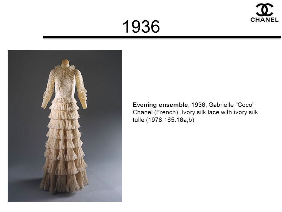 1936 Evening ensemble, 1936, Gabrielle Coco Chanel (French), Ivory silk lace with ivory silk tulle (1978.165.16a,b)