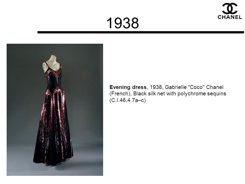 1938 Evening dress, 1938, Gabrielle Coco Chanel (French), Black silk net with polychrome sequins (C.I.46.4.7a–c)
