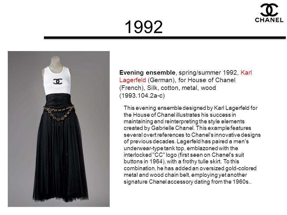 1992 Evening ensemble, spring/summer 1992, Karl Lagerfeld (German), for House of Chanel (French), Silk, cotton, metal, wood (1993.104.2a-c)