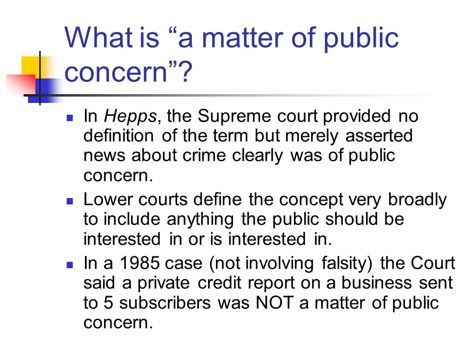 What is a matter of public concern