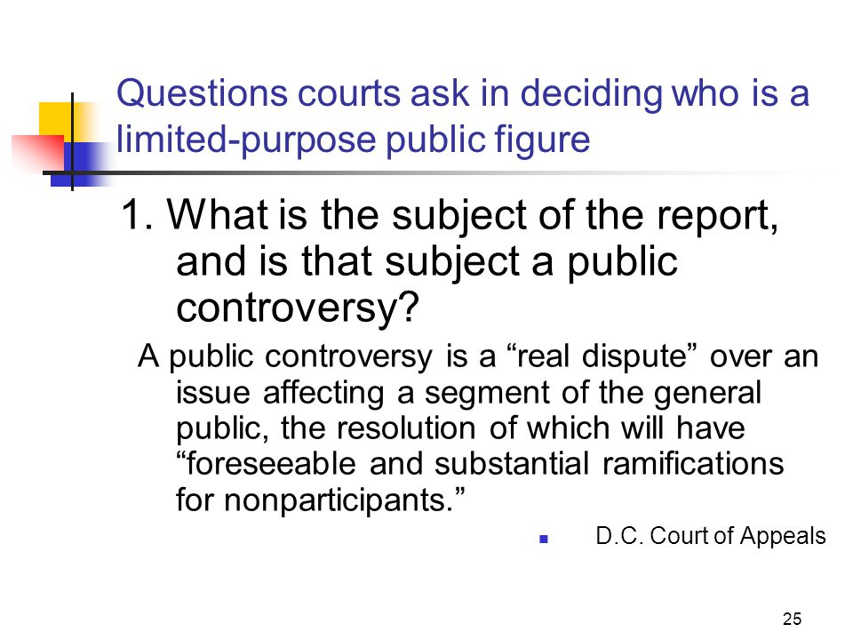 JOMC 164, Section 2 Questions courts ask in deciding who is a limited-purpose public figure.